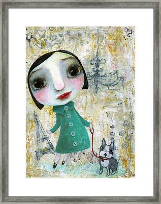 Isabelle And Her Dog Framed Print by Shirley Dawson