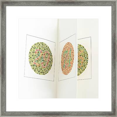 Ishihara Colour Vision Test Charts Framed Print by Science Photo Library