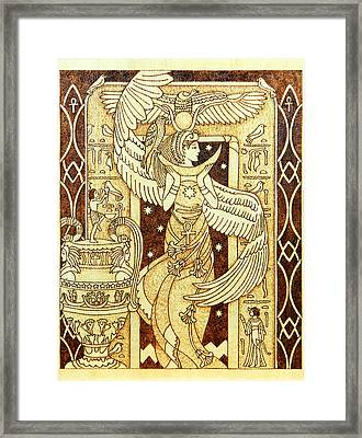 Isis Egyptian Goddess Of Motherhood And Magic Wooden Pyrography Plaque Framed Print by Yanka