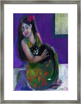 Island Girl And Cat Framed Print by Cecily Mitchell