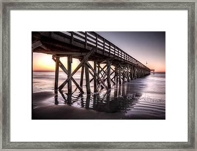 Isle Of Palms Pier At Sunrise Framed Print by Walt  Baker