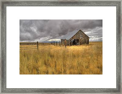 Isolated Barn In Oregon Framed Print by Jean Noren