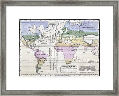 Isothermal Map Of The World Framed Print by William C Woodbridge