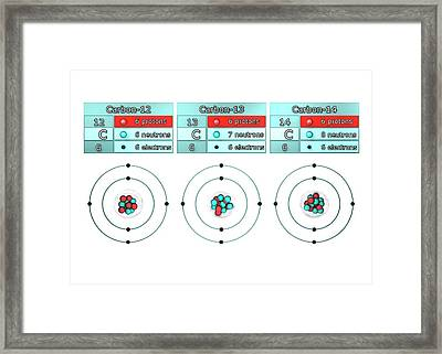 Isotopes Of Carbon Framed Print by Animate4.com/science Photo Libary
