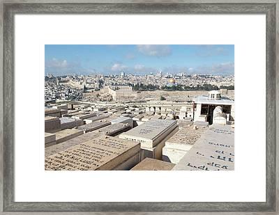 Israel, Jerusalem, View Of The Old City Framed Print by Ellen Clark