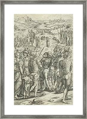 Israelites Cross The Jordan, Pieter Huys Framed Print by Pieter Huys And Pieter Van Der Borcht (i)