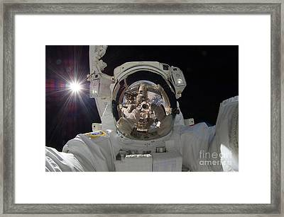 Iss Expedition 32 Spacewalk Framed Print by Nasa Jsc