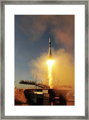 Iss Expedition 46 Launching Framed Print by Esa�s. Corvaja