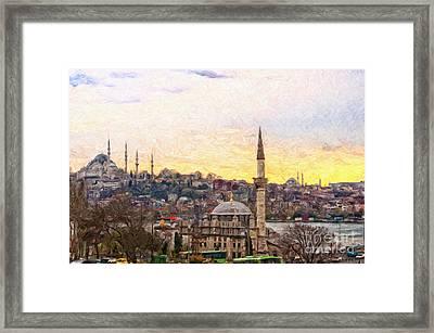 Istanbul Cityscape Digital Painting Framed Print by Antony McAulay