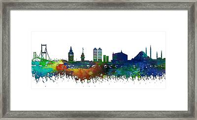 Istanbul Skyline Watercolor Framed Print by Celestial Images