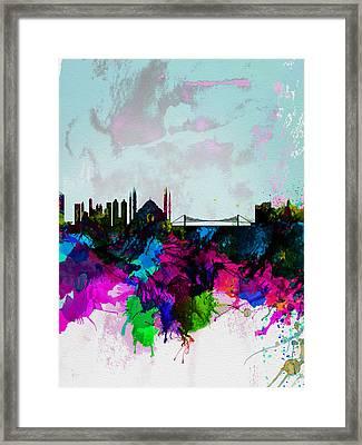 Istanbul Watercolor Skyline Framed Print by Naxart Studio