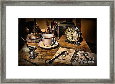 It Was All Started By A Mouse - Walt Disney's Desk Framed Print by Lee Dos Santos