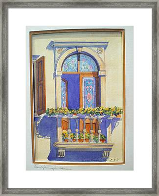 Italian Balcony In Spring Framed Print by Susan Wilhoit