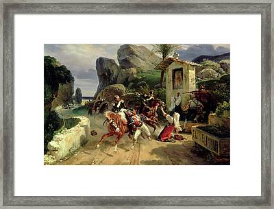 Italian Brigands Surprised By Papal Troops Framed Print by Emile Jean Horace Vernet