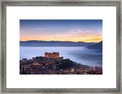 Italian Castle At Sunset  Framed Print by Luca Montanari