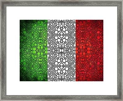 Italian Flag - Italy Stone Rock'd Art By Sharon Cummings Italia Framed Print by Sharon Cummings