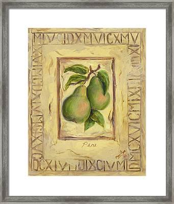 Italian Fruit Pears Framed Print by Marilyn Dunlap