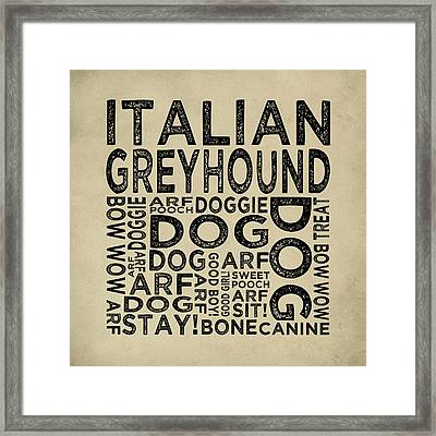 Italian Greyhound Typography Framed Print by Flo Karp