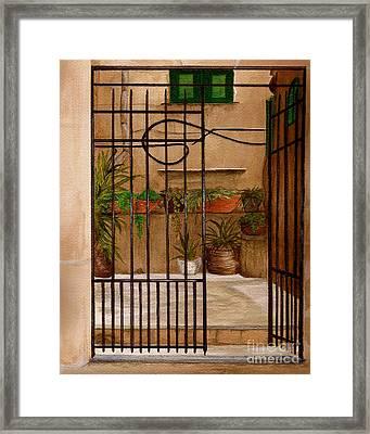 Italian Iron Gate Framed Print by Nan Wright