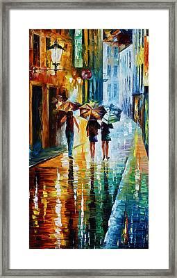 Italian Rain Framed Print by Leonid Afremov