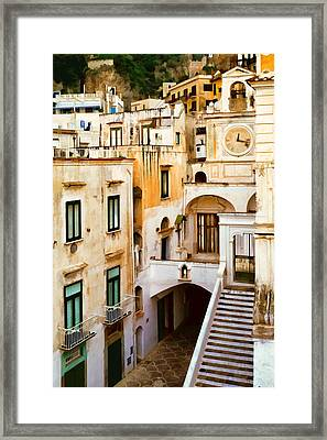 Italian Scene With Clocktower Framed Print by Cliff Wassmann