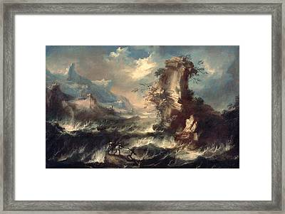 Italian Seascape With Rocks And Figures Framed Print by Marco Ricci