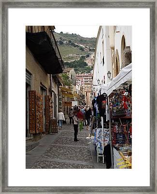 Italian Street Scene Framed Print by Becky Linhardt