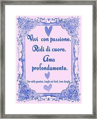 Italian Words Of Love Framed Print by Scarebaby Design