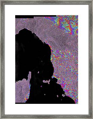 Italy And Corsica Framed Print by Esa/dlr Remote Sensing Technology Institute