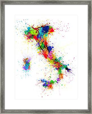 Italy Map Paint Splashes Framed Print by Michael Tompsett