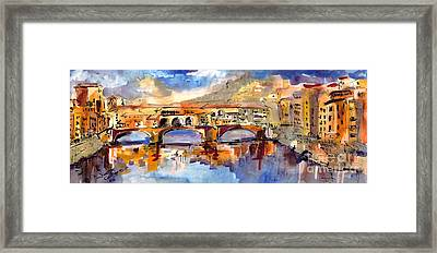 Italy Ponte Vecchio Florence Framed Print by Ginette Callaway