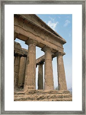 Italy. Sicily. Agrigento. Valley Of The Temples. Temple Of Concordia. 5th Century Bc Framed Print by Bridgeman Images
