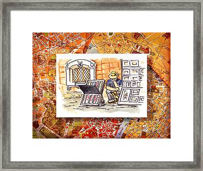 Italy Sketches Florence Art Fair At San Lorenzo Cathedral Framed Print by Irina Sztukowski