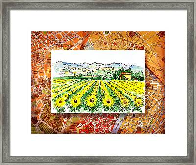 Italy Sketches Sunflowers Of Tuscany Framed Print by Irina Sztukowski