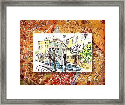 Italy Sketches Venice Canale Framed Print by Irina Sztukowski