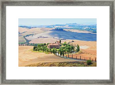 Italy Tuscany Le Crete - Farmhouse Framed Print by Panoramic Images