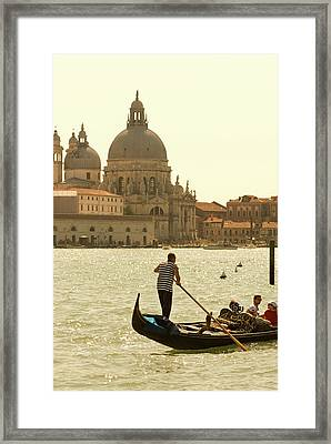 Italy, Venice A Gondolier Ferries Framed Print by David Noyes