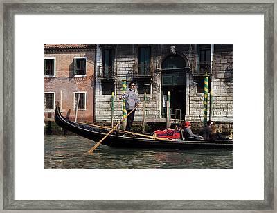 Italy, Venice A Gondolier Strikes Framed Print by Jaynes Gallery