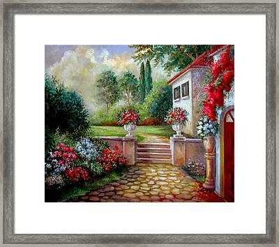 Italyan Villa With Garden  Framed Print by Regina Femrite