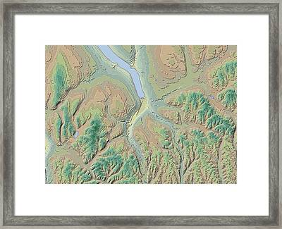 Ithaca Contour Map Framed Print by Paul Hein