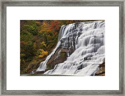 Ithaca Falls In Autumn Framed Print by Michele Steffey
