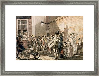 Itinerant Musicians Playing In A Poor Framed Print by Paul Sandby