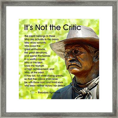 It's Not The Critic Framed Print by Mike Flynn