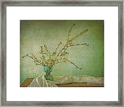 Ivory And Turquoise Framed Print by Priska Wettstein