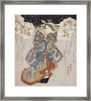 Iwai Kumesaburo II As A Courtesan Framed Print by Utagawa Kunisada