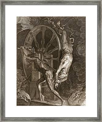 Ixion In Tartarus On The Wheel, 1731 Framed Print by Bernard Picart