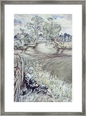 Izaak Walton Reclining Against A Fence Framed Print by Arthur Rackham