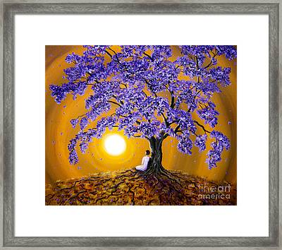 Jacaranda Sunset Meditation Framed Print by Laura Iverson