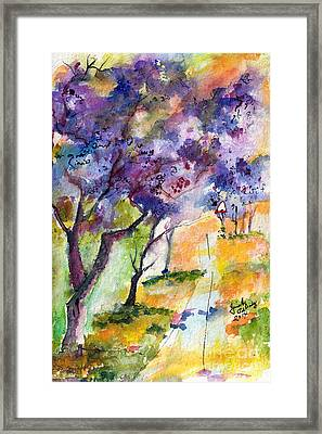 Jacaranda Trees Watercolor And Ink By Ginette Framed Print by Ginette Callaway
