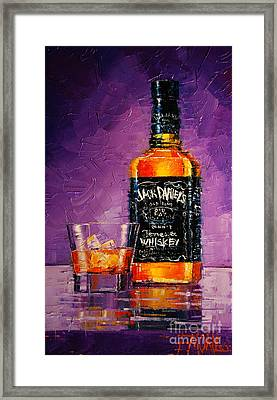 Still Life With Bottle And Glass Framed Print by Mona Edulesco